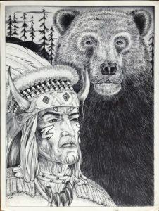 """Leonardo Peña, """"Native Old Time"""", 1997, Austin (Texas), cartoncino rigido da disegno (Tex Art), cm 38x50, penna"""