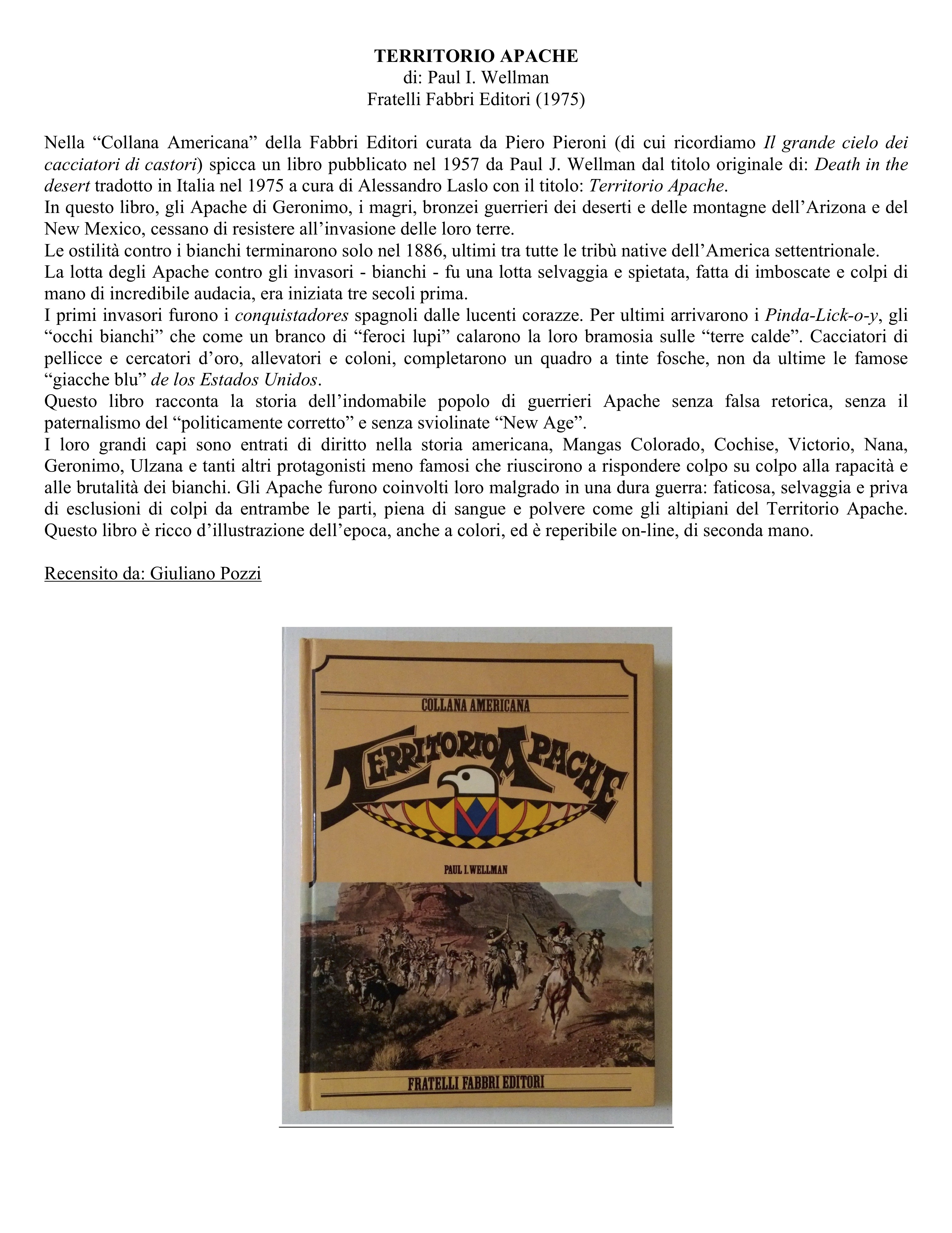 Territorio Apache, di Paul I. Wellman, Fratelli Fabbri Editori (1975)