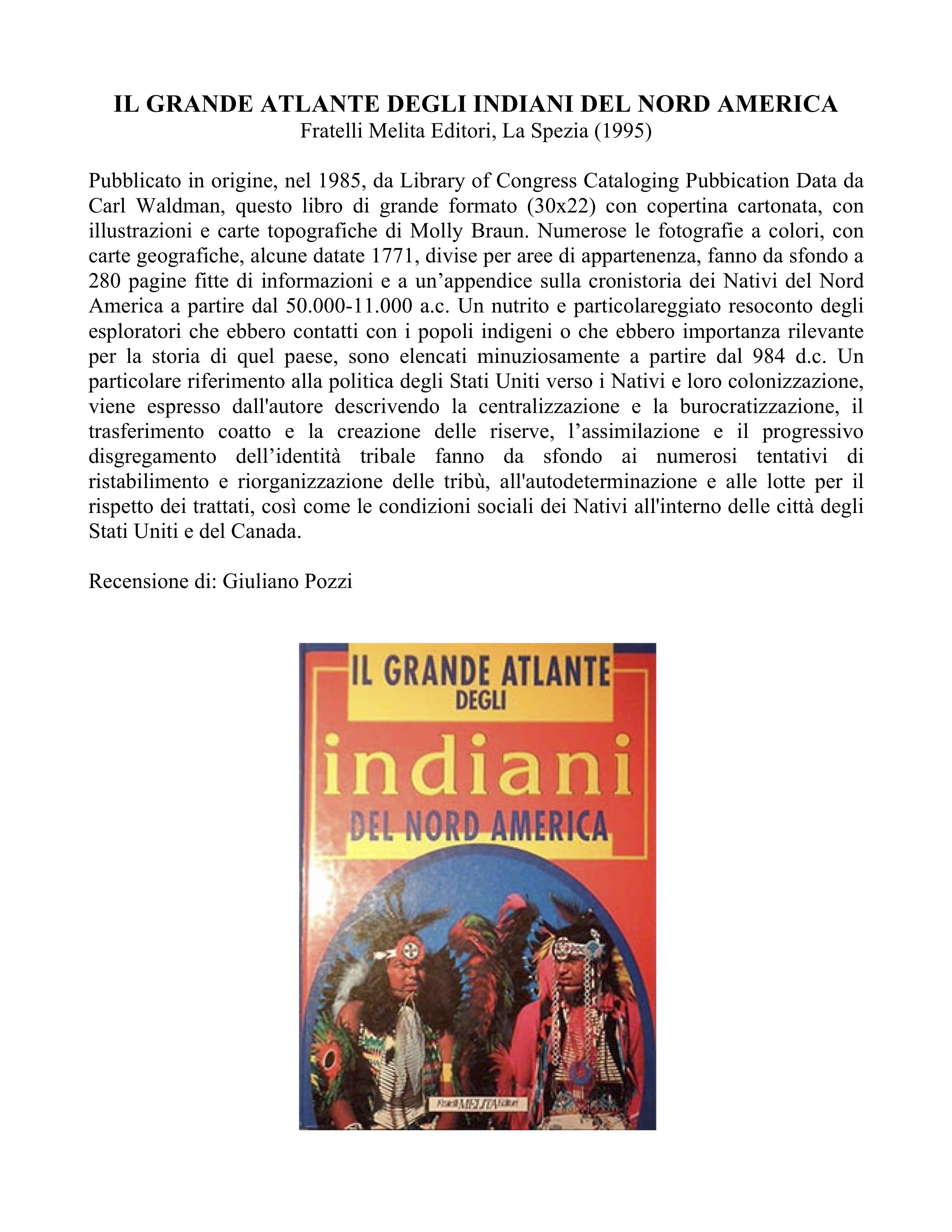 IL GRANDE ATLANTE DEGLI INDIANI DEL NORD AMERICA
